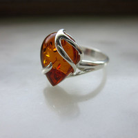 CLEARANCE sterling genuine Baltic amber ring stamped hallmarked Polish vintage amber ring amber jewelry semiprecious amber fossilized amber