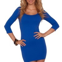 Womens Bodycon Scoop Neck 3/4 Sleeve Spandex Blend Club Wear Party Mini Dress