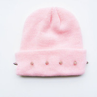 Spiked Baby Pink Beanie from ShopWunderlust
