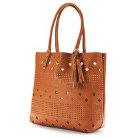 Dolce Girl Perforated Tote (Beige/Khaki)