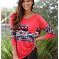 SIMPLE - Popular Fashionable Retro Tribal Ethnic Mixed Color Casual Boho Top T-shirt b2163