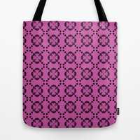 Pattern April 2015 Flower Black and Pink Tote Bag by AFrancisconi