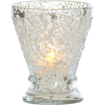 Vintage Mercury Glass Candle Holder (4-Inch, Rosemary Design, Silver) - For Use with Tea Lights - For Home Decor, Parties, and Wedding Decorations