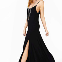 Black Spaghetti Strap Maxi Dress With Slit