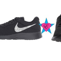 Black Sole Glitter Sneakers Bling Nike Tanjun Shoes
