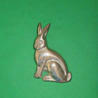 Handsome Taxco Rabbit Pendant Brooch, Vintage TAXCO Sterling Silver Puffy Bunny Rabbit Pendant Brooch, Collectible