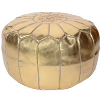 Gold Moroccan Pouf | Waiting On Martha