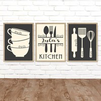 Personalized KITCHEN Wall Art, Kitchen Canvas or Print Kitchen Utensils Decor, Rustic Farmhouse Kitchen Dining Room Wall Decor, Set of 3