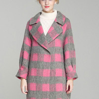 Plaid Knitted Long Coat