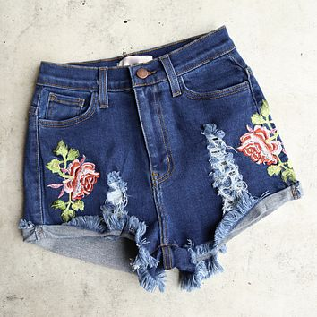 Final Sale - High Waisted Shredded Hot Shorts with Floral Applique in Dark Blue