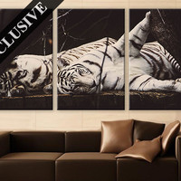 Large Wall Art Canvas Print 3 Panel Art Wall Hanging White Tiger Wall Art Photo on Canvas Wall Decor for Home & Office Large Wall Decoration
