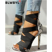 Women Pumps Fashion Bandage Patchwork Mixed Colors Snake Open Toe High Heels Sandals Casual Shoes