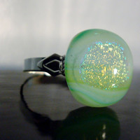 Green - Dichroic Fused Glass Ring - Holographic - Ring - Cocktail Ring - Jewelry - Spring 2014
