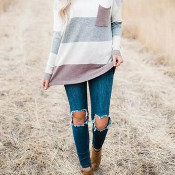 New Purple Striped Print Pockets Round Neck Long Sleeve Casual Country Cowgirl Sweater