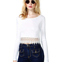 White Long Sleeve Lace Accent Cropped Top
