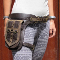 Leather Leg Holster Utility Belt  Steampunk Burningman Festival Hip Belt Bag with Pockets in Brown HB31g* Free Shipping*