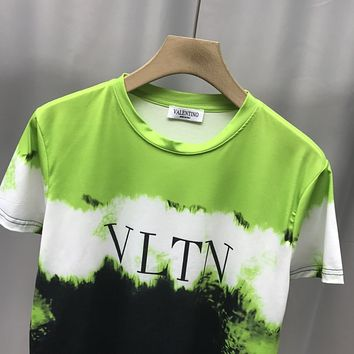 Valentino new autumn and winter short-sleeved handsome tie-dye color short-sleeved T-shirt green