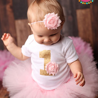 Pink Baby Girl's First Birthday Outfit - Shabby Chic Bodysuit, Tutu and Headband - Light Pink Birthday Outfit - Gold 1 - 12 MONTH