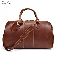 Genuine Leather travel duffel Women Men Fashion shiny Red Real cow leather travel bag Weekend tote