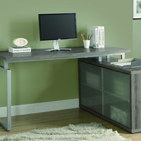 """Dark Taupe Reclaimed-Look """"L"""" Shaped Desk/Frosted Glass"""
