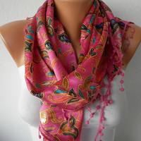 ON SALE - 50% OFF - Women Shawl Scarf -  Cowl with Lace - Multicolor