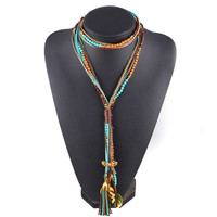 Multilayer Long Beads Necklace