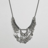 Pieces Mia Multi Row Coin Necklace at asos.com