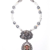 Wedding Bouquet Memorial Photo Oval Antiqued Silver Filigree Metal Charm Black Onyx Crystal Gems Pearls - FREE SHIPPING