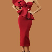 New Burgundy Ruffle Draped Irregular Off Shoulder Backless Bodycon Prom Evening Elegant Banquet Formal Maxi Dress