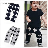 TANGUOANT Baby Pants Fashion Baby Boys Pants Harem Pants For Girls Cross Star Children Boy Toddler Child Trousers Baby Clothes