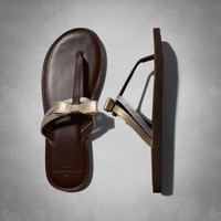 shine leather sandals