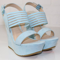 Spring Bliss Powder Blue Strappy Wedges