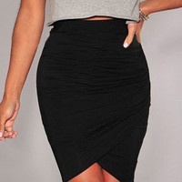 Black Knee-Lenght Bodycon Asymmetric Skirt