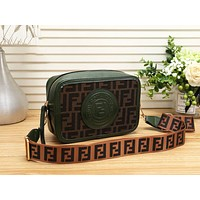 "Hot Sale ""FENDI"" Popular Women Shopping Leather Shoulder Bag Crossbody Satchel Green"