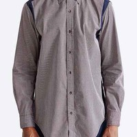 Shades Of Grey By Micah Cohen Contrast Panel Button-Down Shirt- Maroon