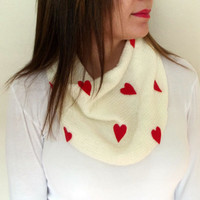 Hand Knitted Antibacterial Red Scarf, Gifts idea, Ivory Scarf, Lightweight Soft Handknit Valentines Day Gift