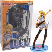 22cm Great Sexcy Fairy Tail Lucy Heartphilia Japan Anime White Skirt PVC Figure Toy for Girls