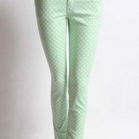 Retrospective Games Polka Dot Skinny Jeans in Pastel Green | Sincerely Sweet Boutique