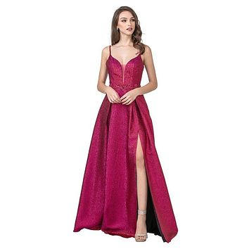 Long Prom Dress Raspberry with Spaghetti Strap and Slit