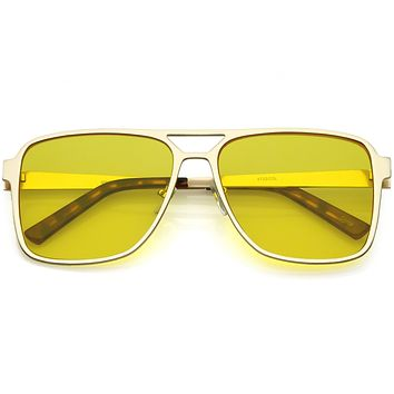 Retro Oversize Square Color Tone Aviator Sunglasses C542