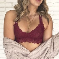 Racerback Lace Bralette in Wine