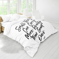White Duvet Cover With Beautiful Quote, Inspirational Quote Bedlinens, Home Decor, Bedroom Decor, Dorm Decor, Chic, Bohemian, Life Quote