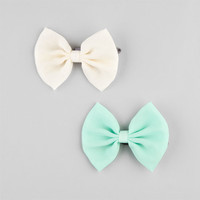 Full Tilt 2 Piece Chiffon Bow Hair Clips Mint One Size For Women 22951852301
