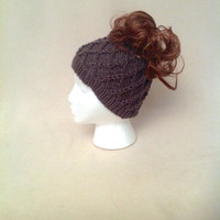 Grey Ponytail Hat, Charcoal Knit Beanie with a Hole, Honeycomb Wide Headband, Runner's Ear Muffs, Messy Bun Hat