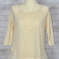 Just Taking A Break Slouchy Lace Top - Umgee- Tan