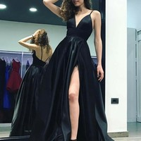 Satin Evening Dress Straps Prom Dress V Neck High Slit