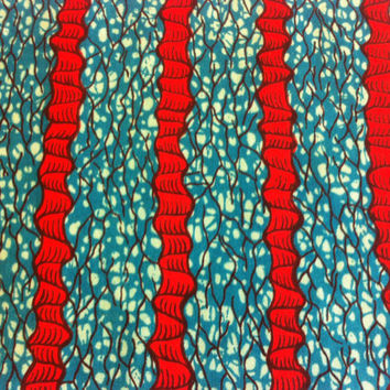 Dutch African Wax Print Fabric by the HALF YARD. Red Coral and Turquoise Blue--Curly Stripes