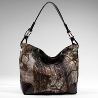 Realtree ?? Camouflage Tote Bag Handbag w/ Leather-like Trim -brown/camouflage Color: Camouflage/Brown