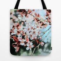 Spring plum flowers crayon color sketch. Floral photo art. Tote Bag by NatureMatters