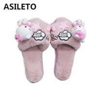 ASILETO cartoon indoor slippers women furry hello kitty cat slippers winter fluffy cosplay house home slipper slides sapatosT273